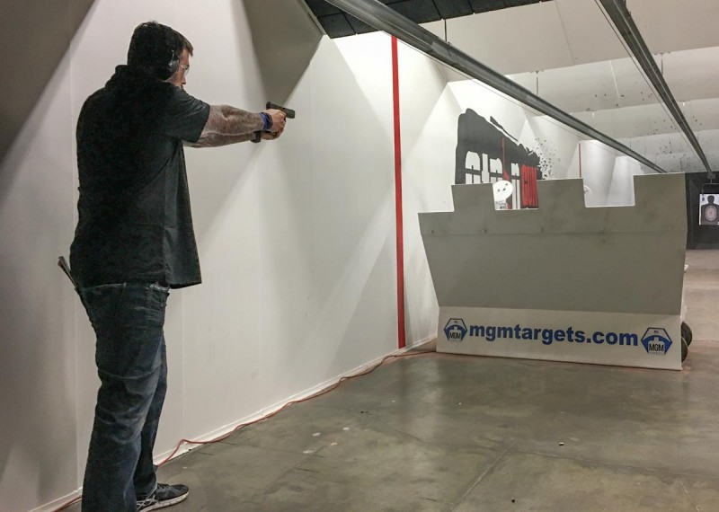 """Even an experienced shooter like Lone Survivor and retired Navy SEAL Marcus Luttrell has to support a handgun """"out in space."""""""