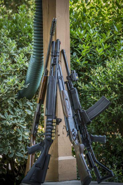 Old school meets modern,  an Ithaca M37, Mossberg 930 JM PRO, Century Arms JW2000 double-barrel shotgun and a Molot Vepr 12.