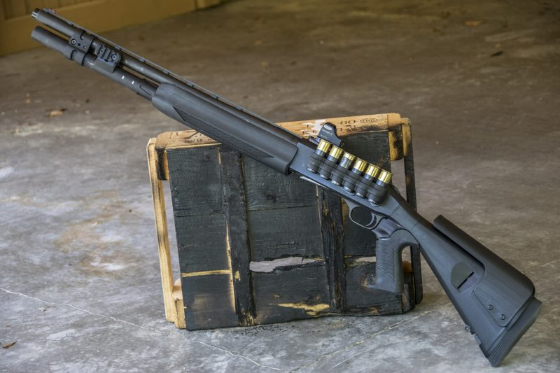 The author's personal home defense shotgun, a Mossberg 930 PRO with Mesa Tactical Stock, Meopta red dot, and several internal upgrades for increased reliability.