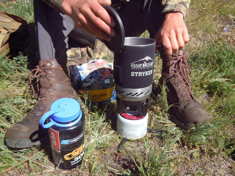 Cooking backcountry meal with Camp Chef stove and Mountain House.