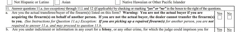 Answering this question fraudulently is a federal crime. In fact, providing false information anywhere on Federal Form 4473 is a crime.