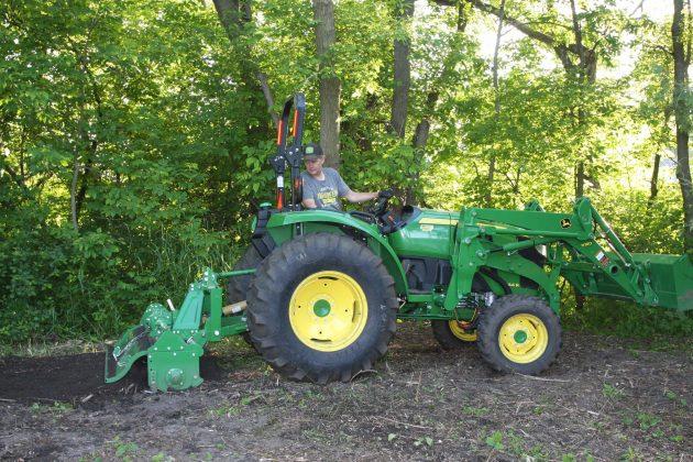Tractor-mounted tillers make short work of final soil prep.