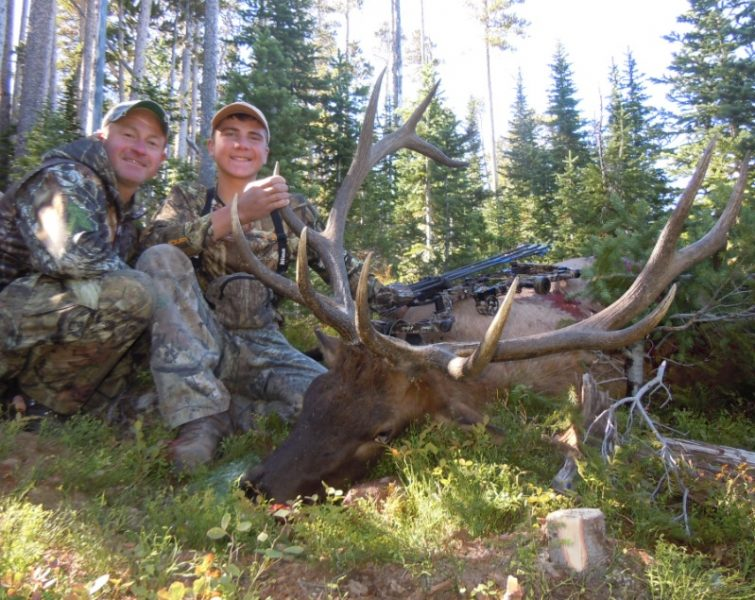 Mark and Cole Kayser enjoy the success of a hard hunt for a public-land bull. Having the right gear helped boost the odds.