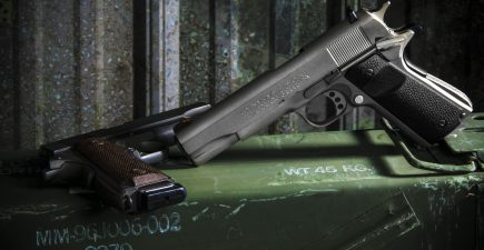 A Stainless Colt Series 70 with Magpul grips and a parkerized Auto Ordnance USGI-type 1911. Both in .45 ACP.