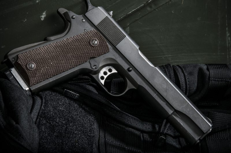 This Auto Ordnance 1911 looks like the ones carried by U.S. soldiers in WWII, but the internals and the trigger are different.