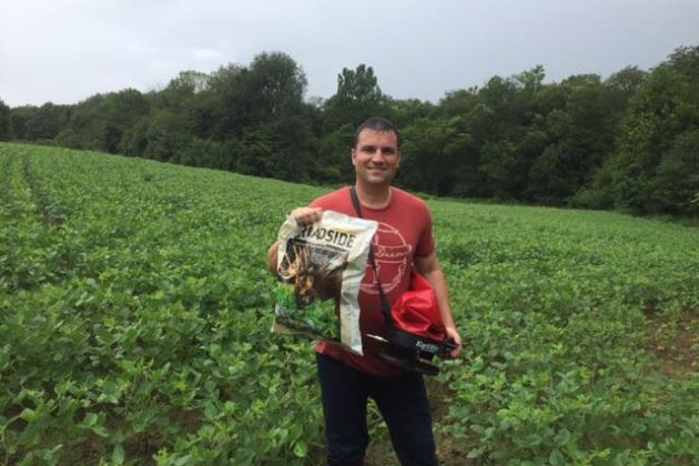 Growing Deer Field Staffer Nate Elliot putting in a Broadside fall food plot during a recent rain storm. As Nate has done here, you can broadcast fall seed blends right into your existing soybean plots.