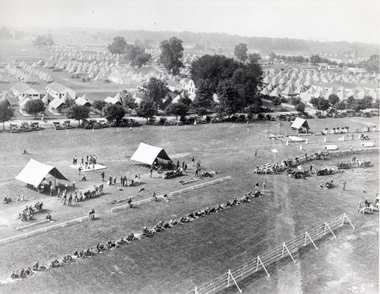 The NRA National Matches at Camp Perry as seen from the air, circa 1923.