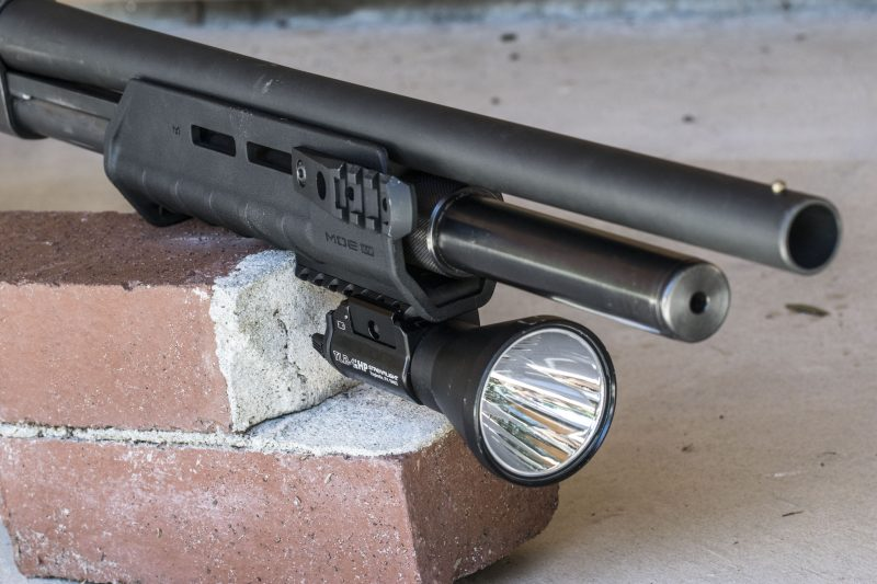 Magpul's MOE M-LOK handguard is ultralight and allows mounting of accessories via the M-Lok slots like this Streamlight TLR-1 HP.