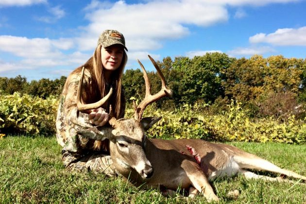 The author's oldest daughter, Raleigh, with proof that accessing a treestand undetected is one key to success.