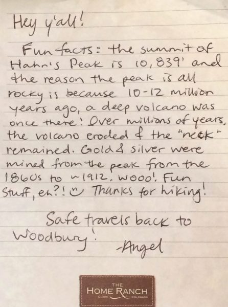 Personal note from one of The Home Ranch staff.