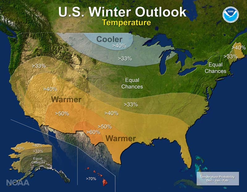 NOAA Temperature Winter Outlook