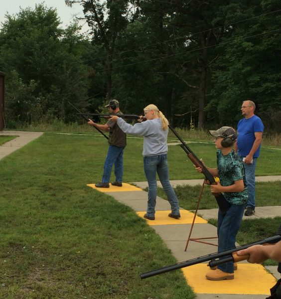 Prior to duck hunting, Justine and Nate practiced on clay targets at the trap range.