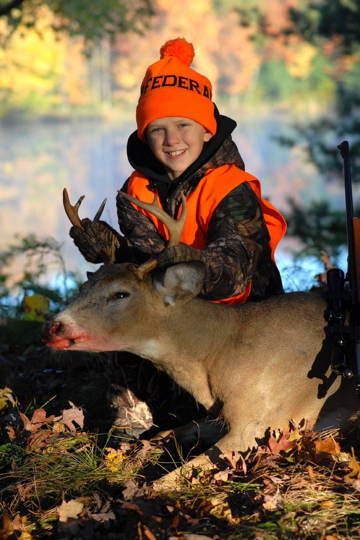 Luke Maas with his first buck.