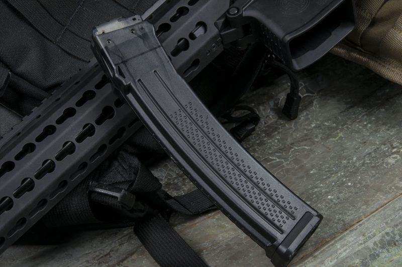 The MPX feeds from either 10-, 20- or 30-round translucent, high-density polymer magazines from Lancer, which feature metal reinforced feeding lips.