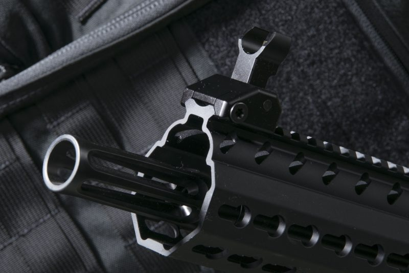 In order to meet NFA-guidelines, the MPX Carbine has a permanently-attached flash hider on its 14.5-inch barrel.