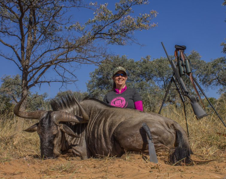 The author's wife used a .243 Win. to take this monster wildebeest at 186 yards with one shot. Why do so many men think they need a bigger gun?