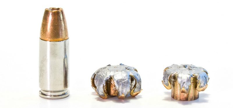 These two 124-grain, Winchester PDX 1, 9mm bullets were recovered from 10 percent ordnance gelatin. They penetrated to almost the same depth even though the bullet on the left impacted with 22 percent more kinetic energy. Their similar performance inside the test medium despite the energy variation signifies good bullet engineering on the part of Winchester.