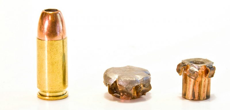 With some bullets, an extreme difference in kinetic energy can lead to an extreme difference in terminal performance and the way the bullet works. The 115-grain Remington, 9mm bullet on the left impacted with 50 percent more kinetic energy than the one on the right, but the bullet on the right penetrated 50 percent deeper.