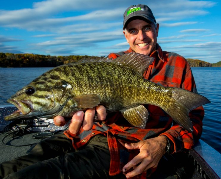 The author with a beautifully marked fall smallmouth.