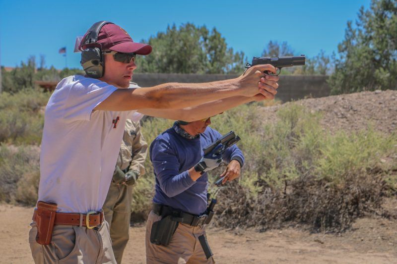 The head-to-head shoot-off at the end of the 250 Pistol Course at Gunsite makes students perform the skills they've learned under stress.
