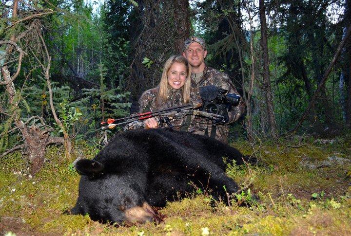 Ainsley with an Alaska black bear she arrowed in 2011.