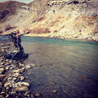 Fly fishing from an Action Track Chair.