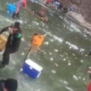 Ice Starts Breaking Underneath Fisherman