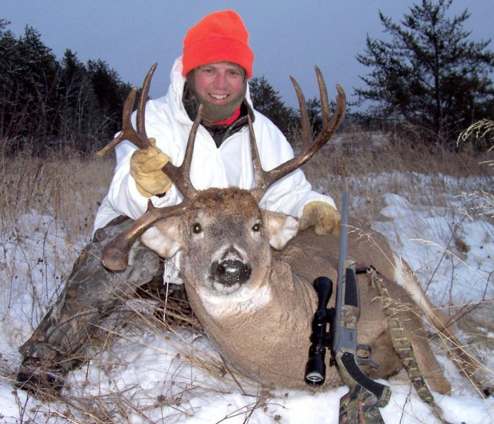 This Saskatchewan buck, nicknamed Kickstand because of his unique drop-tine, was shot just before sunset. The author stayed warm all day in crazy-cold conditions because of a Heater Body Suit.