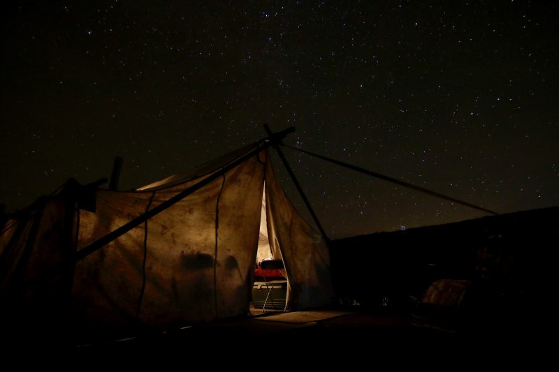 The cook's tent under the Colorado stars.