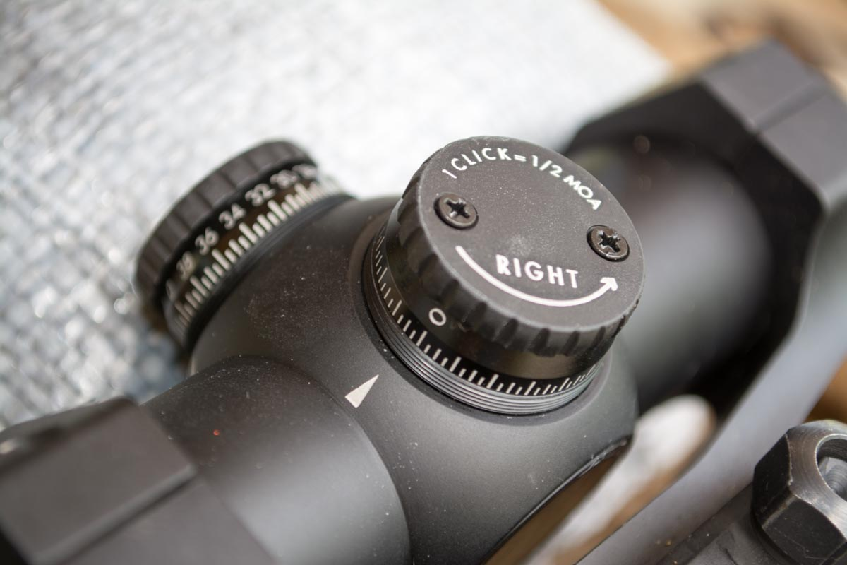 Both windage and elevation dials adjust point of impact in 1/2 MOA increments. At the 50-yard zero range, that's 1/4-inch per click.