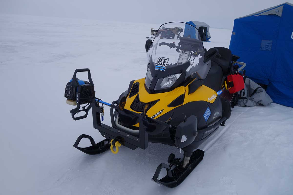 Video prepping your snowmobile prior to ice fishing for Ice fishing snowmobile
