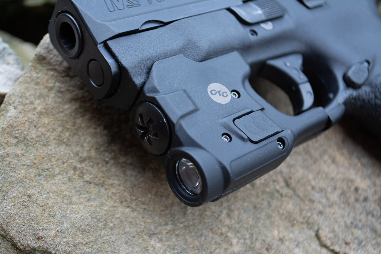 The LTG-770 fits on both 9mm and .40 S&W Shield pistols and adds little extra bulk for concealed carry.