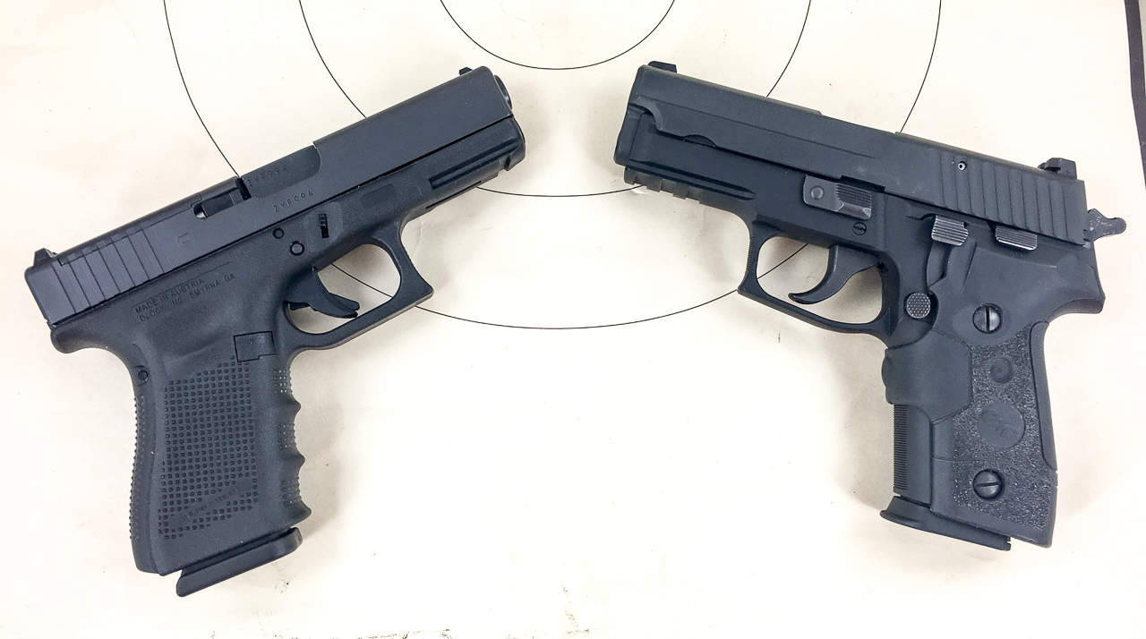 While they're similarly sized, the Glock delivers about 50% more recoil energy than the all-metal (and heavier) Sig.