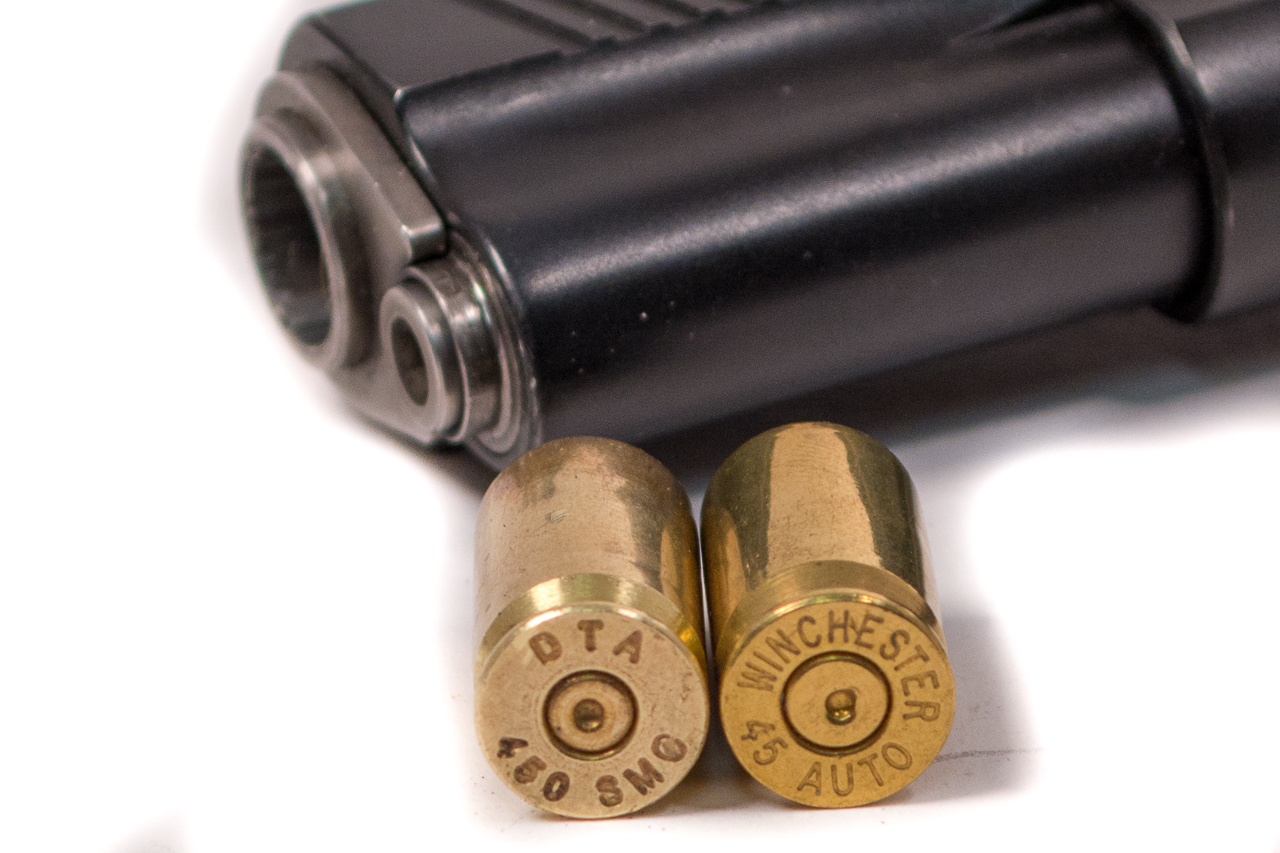 Thanks to some fancy case engineering, once you have a +P-rated .45 pistol, you can also shoot 450 SMC ammo.