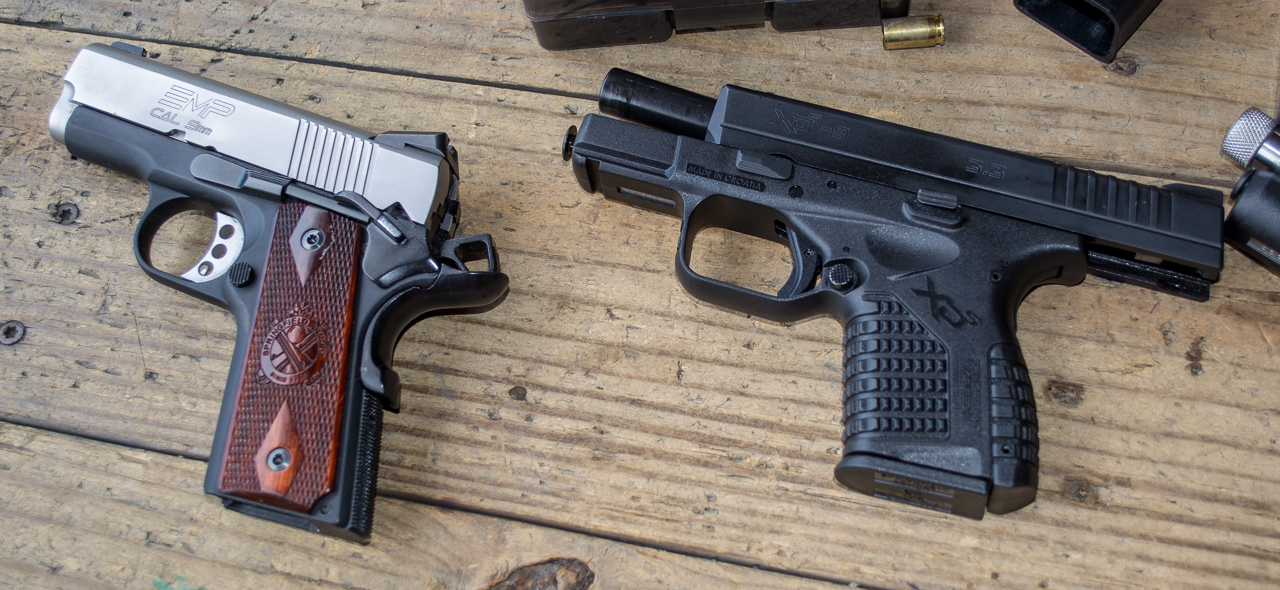 Even though the EMP on the left is all metal, it delivers about the same recoil as the polymer XD-S on the right because they're similar in size and weight.