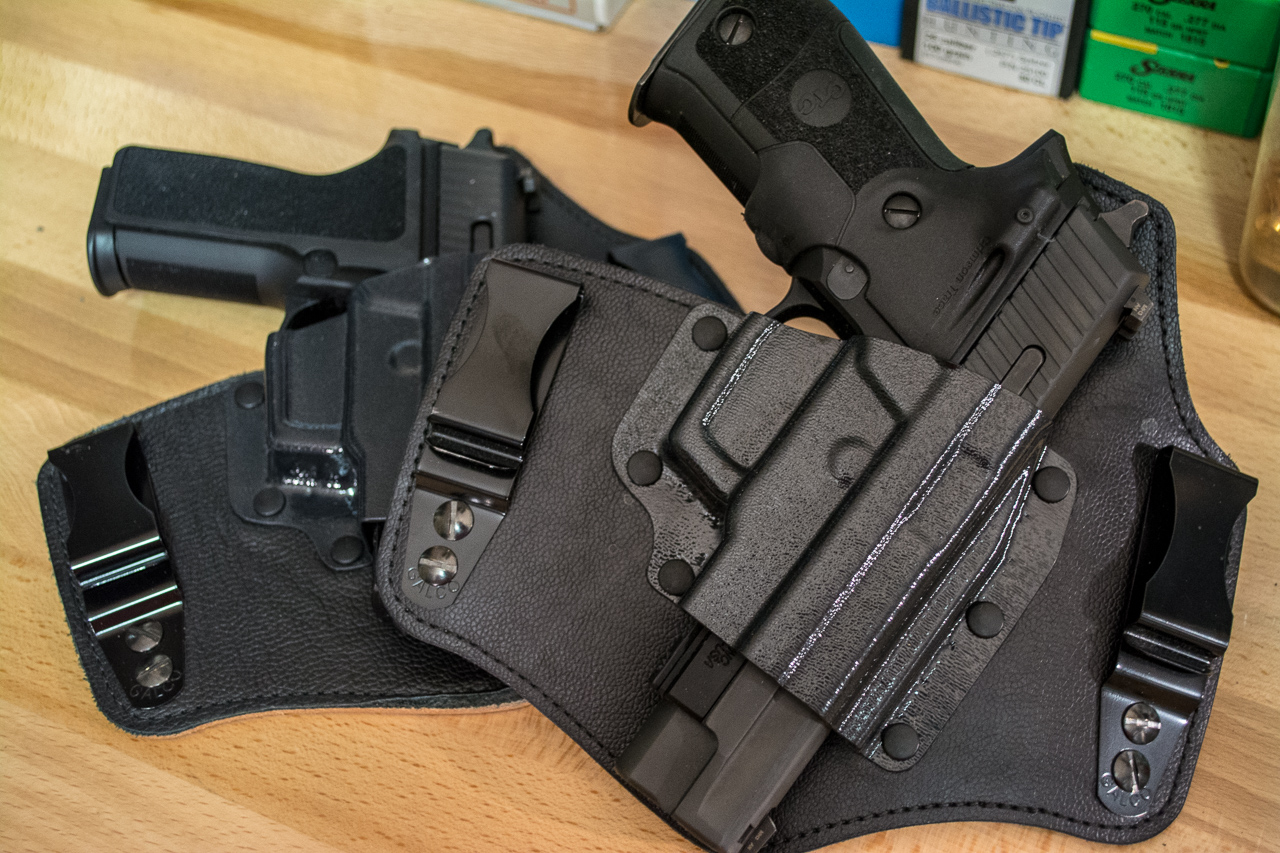 Inside the waistband holsters like these King Tuks from Galco do a pretty good job of concealment. More importantly, they're secure.
