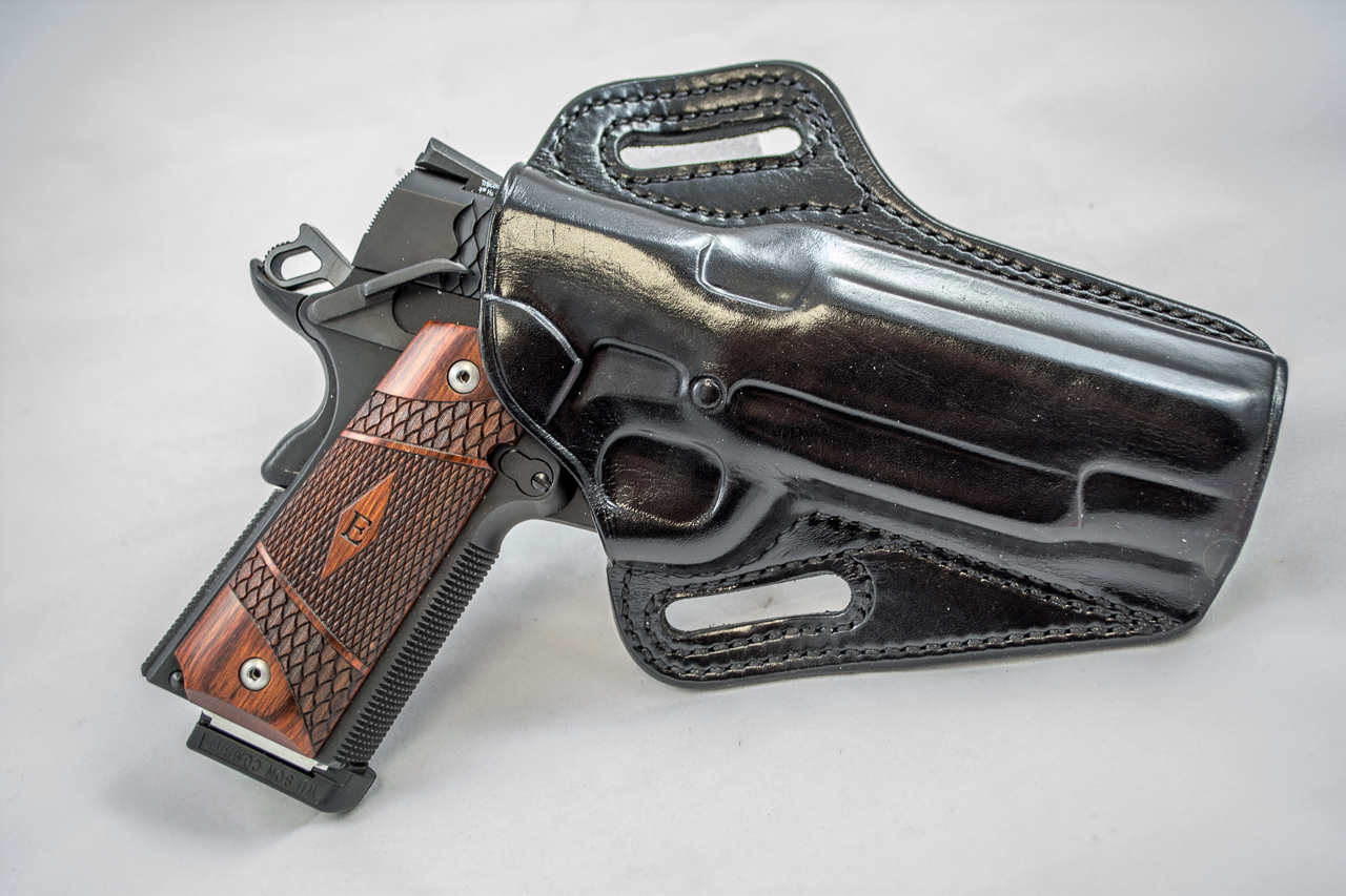 A good holster can provide great security without extra retention straps. This Galco model is molded perfectly to the gun, keeping it right where it belongs.