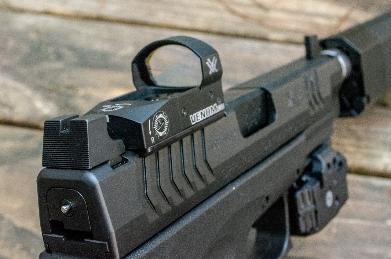 The XD(M) OSP Threaded comes with a Vortex Venom red dot optic pre-mounted and ready to go.