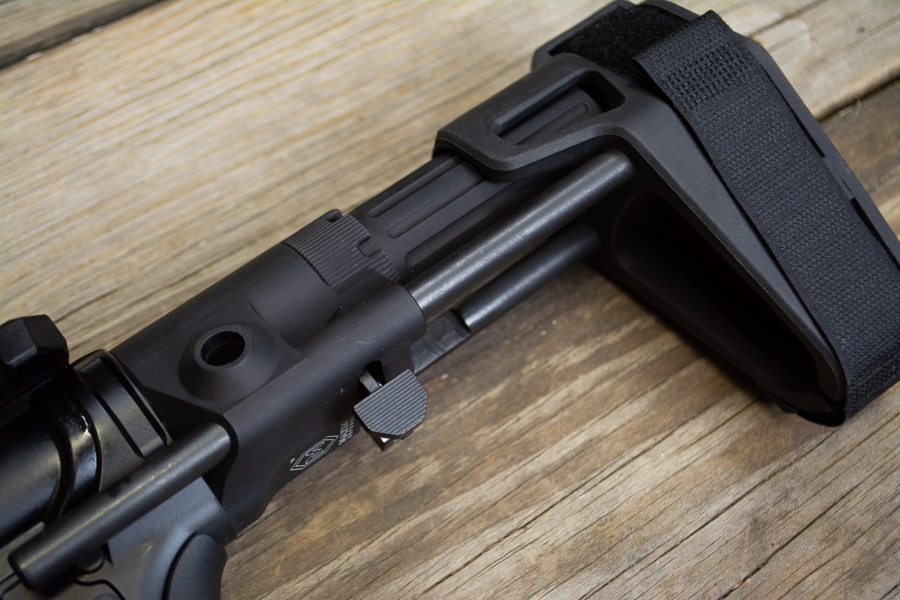 The pistol brace is fantastic. The dual rods are rock solid and the push lever allows quick adjustment to four different length of pull positions.