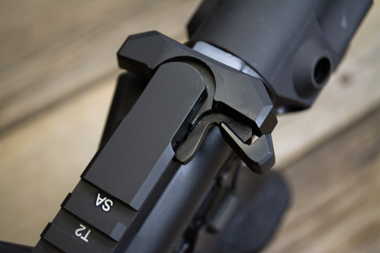 The charging handle is a Springfield Armory design and is generously sized for easy operation, even with optics installed nearby.