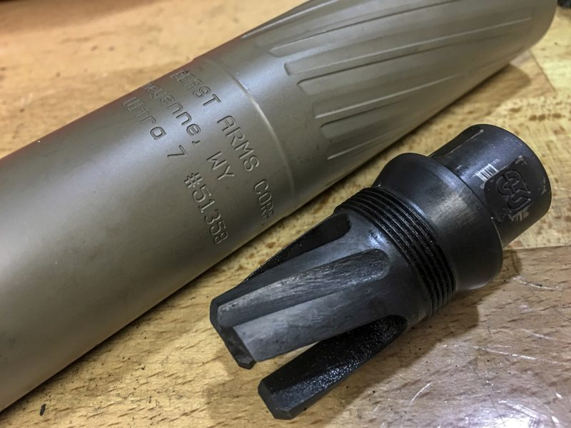This configuration from Griffin Armament, the Thunder Beast, displayed no offset when adding the suppressor.
