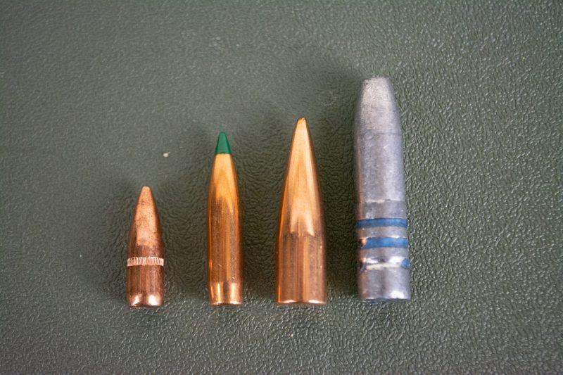 Left to right: .223 55-grain FMJ, .223 77-grain Sierra Tipped Matchking, 300 Blackout 125-grain Matchking, 300 Blackout 220-grain hardcast.