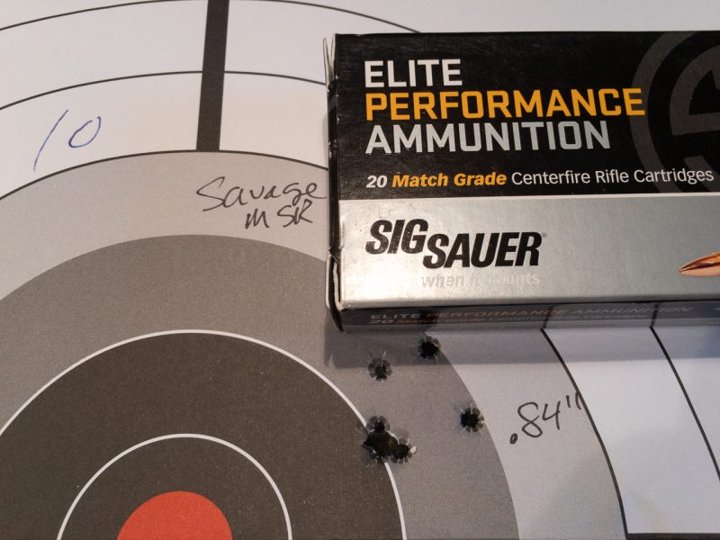 Sig Sauer's Open Tip Match 77-grain ammo produced the best overall groups of the day.