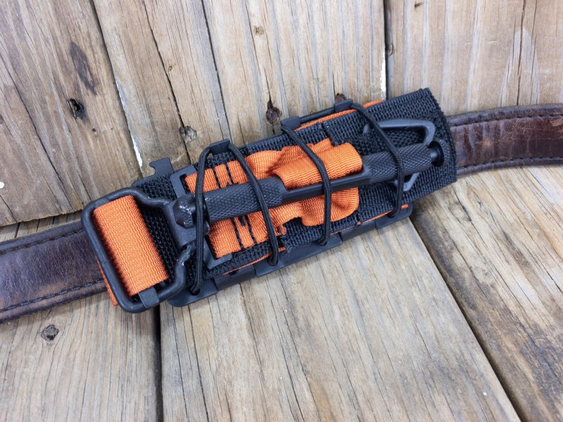 A carrier like this can mount on the belt. That's handy for range trips or other outdoor activities.