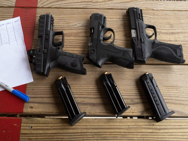 At each stage, I shot each of the three pistols and sighting systems at their own targets.