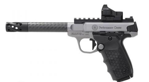 The Smith & Wesson Performance Center makes jazzed up versions of the Victory, like this one with a carbon fiber barrel.