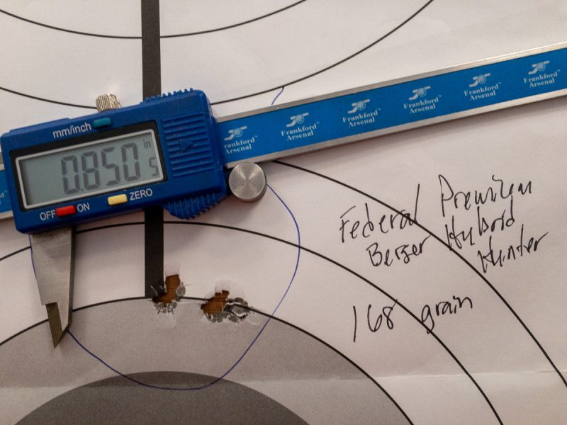 The Federal Premium Berger Hybrid Hunter produced a nice five-shot group from 100 yards.