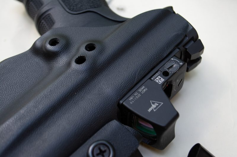 """The Clinger No Print Wonder worked so well with the full-size Beretta APX RDO that I """"might"""" have done some Dremel tool adjustments to allow room for an optic. Yes, you can even carry an optic-equipped full-size pistol easily if you put your mind to it."""