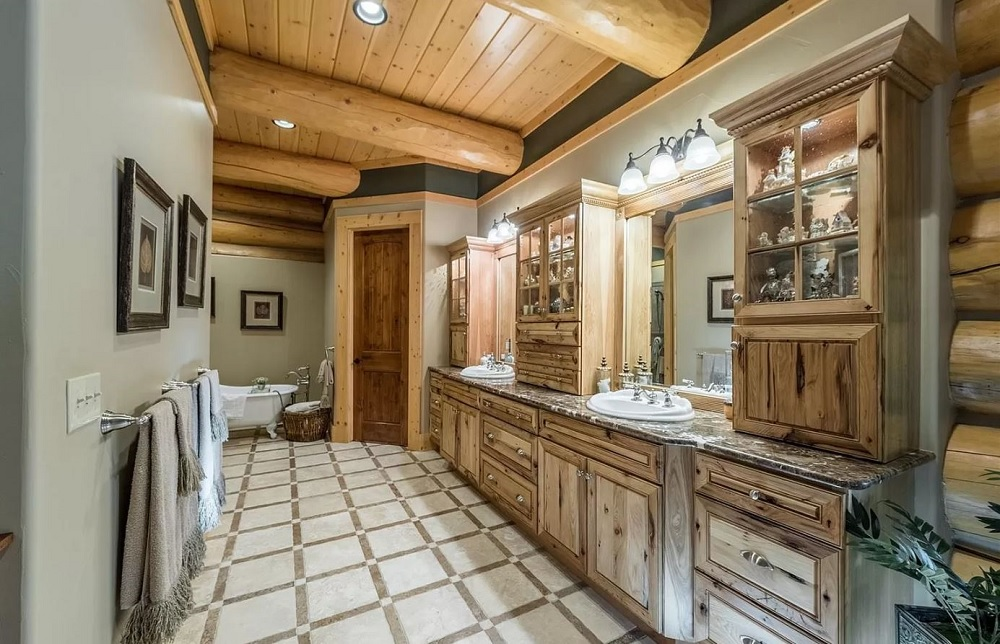 Log Cabin Home Master Bath